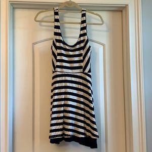 Eight Sixty navy & white striped eyelet sundress
